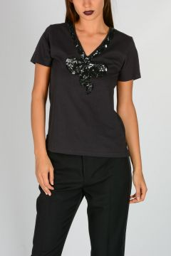 Sequined Cotton T-shirt