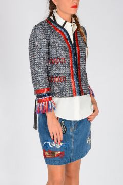 Sequined Knitted Jacket with Lurex Details