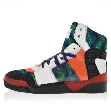 Sneakers Alte in Pelle e Tessuto Stampato