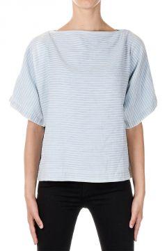 T-Shirt a Righe in Cotone e Lino