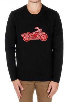 Merino Wool Motorcycle Embroidery Sweater