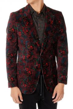 Floral Patterned Velvet Blazer