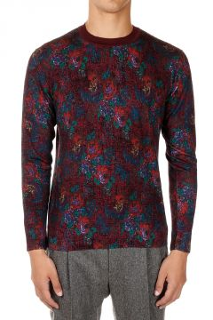 Floral Patterned Knitted Wool Sweater