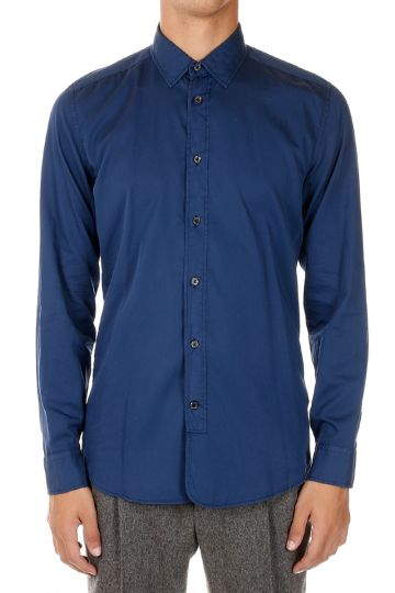 Cotton and Silk Blend Slim Fit Shirt