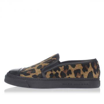 Sneakers in Pelle e Tessuto Leopardato