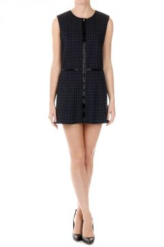 Wool Checked print Sleeveless Blazer