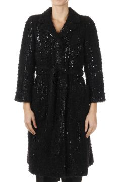 Sequined Wool Blend Coat