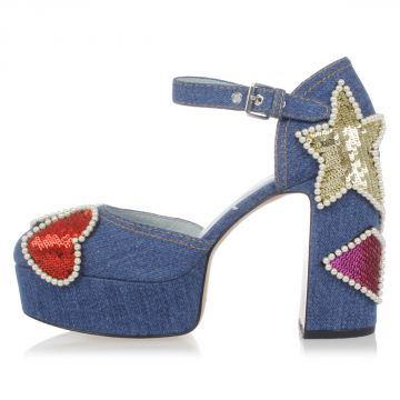 Decolletè Platform in Jeans con Paillettes 11 cm