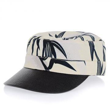 Cappello in Tessuto e Pelle
