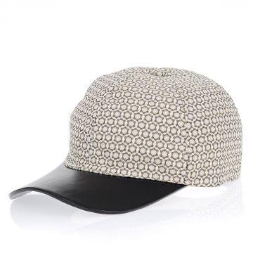 Cappello in Tessuto Stretch e Pelle