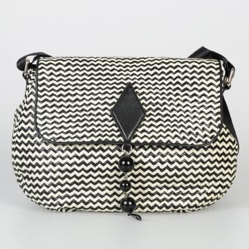Chevron Braided Leather Messenger Bag