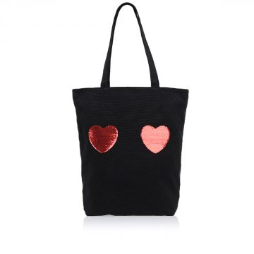 Borsa Shopper in Cotone con Paillettes