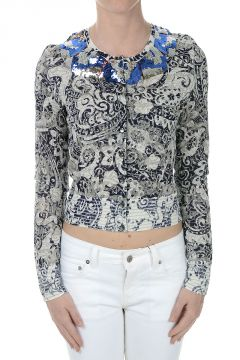 Printed Cardigan with Paillettes