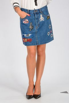 DISNEY Mini Gonna in Denim con Ricami e Decori