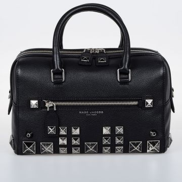 Studded Leather Bowler Bag