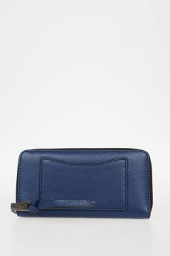 Leather Zip Around Clutch Wallet