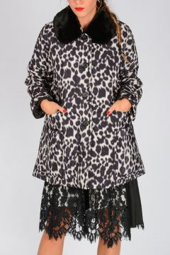 Leopard Print Jacket with Faux Fur