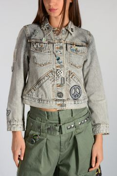 Denim Jacket With Brooches