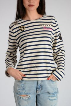 Striped T-shirt With Brooch