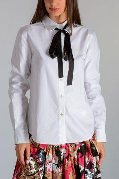 Camicia in Misto Cotone con Spilla