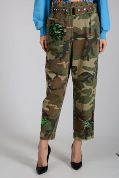 Camouflage Pants with Embroidery and Studs