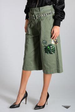 Pantalone in Cotone Con Ricami