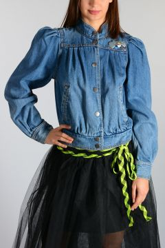 Denim Jacket With Brooch