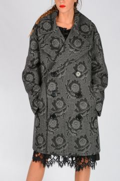 Floral Patterned Virgin Wool Coat