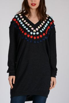 Wool Dress With Flock