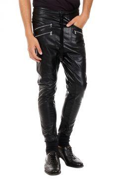 Pantalone in finta pelle con Dettagli zip