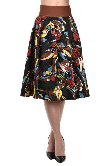 Cotton Blend Floral Printed Skirt