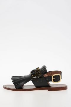 Leather Sandals With Rhinestone