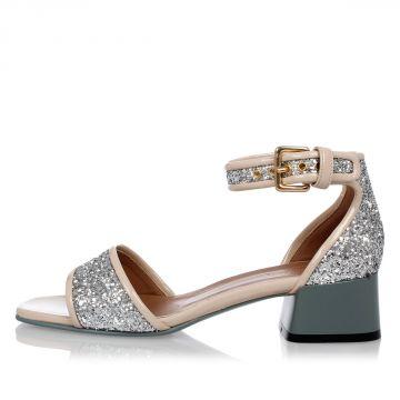 Sandalo in Pelle Glitter con Tacco 4 CM