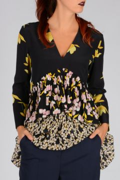 Floral Pattern Silk Pleated Blouse