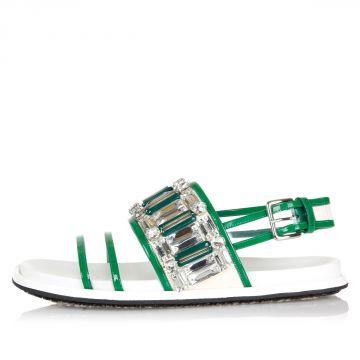 Sandalo in Pelle  e Tessuto con Applicazioni Gioiello
