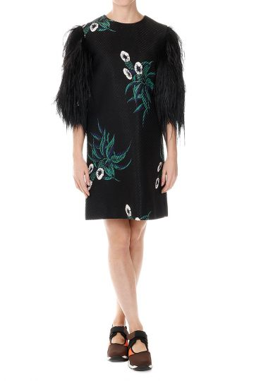 Mixed Cotton Dress with Sleeves in Ostrich Feathers