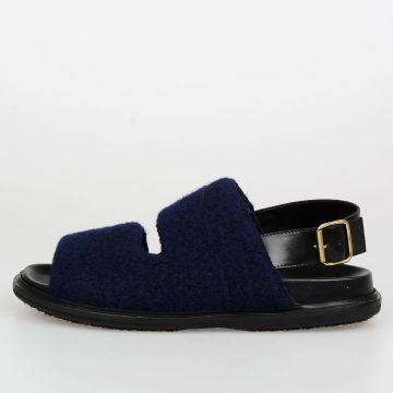Leather & Wool Blend FUSSBET Slingback Sandals