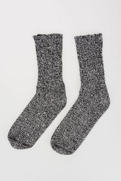 Black White Cotton Knit Socks