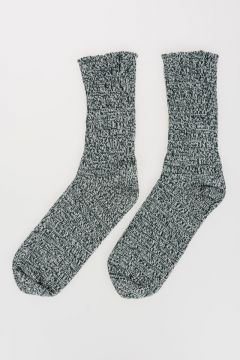 Knitted Cotton white Green Socks