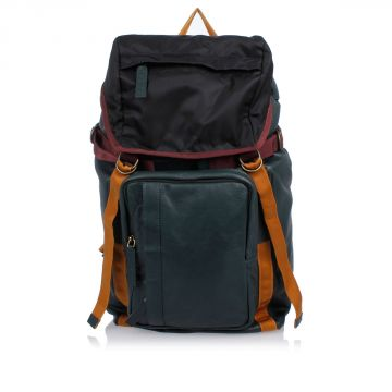 Leather and Fabric Backpack