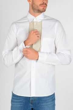 Cotton Popeline Shirt with Wool Details
