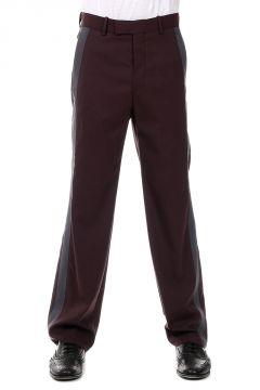 Pantaloni con Banda a Contrasto in Lana Vergine