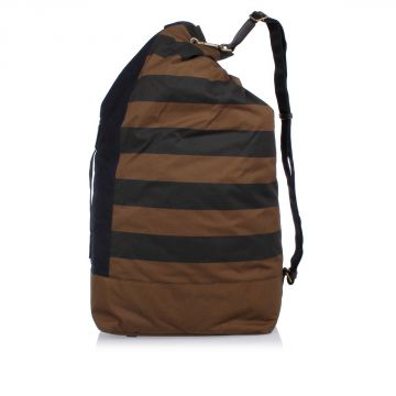 Cotton Leather Striped Duffle Bag