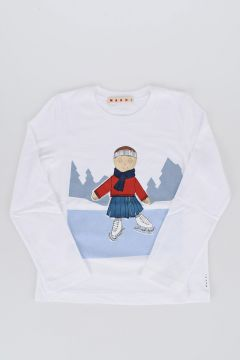 T-shirt in Jersey di Cotone con Manica Lunga