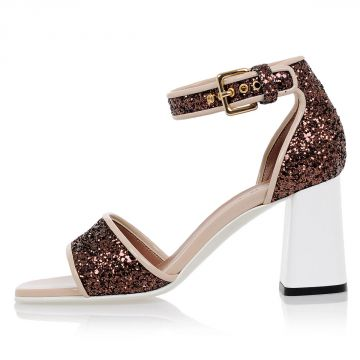 Glitter Leather Sandals 7cm