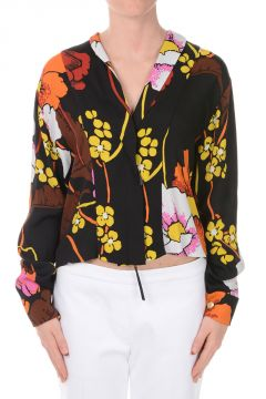 Floral Blouse with Zip Closure