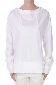 Poplin Round-neck Long Sleeves Blouse