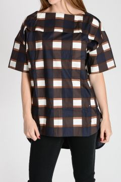 Checked Poplin Cotton Blouse