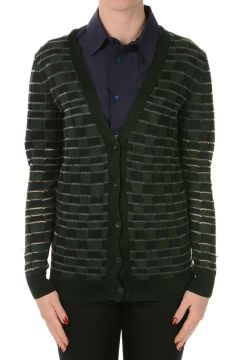 Cardigan In Misto Seta a Quadri