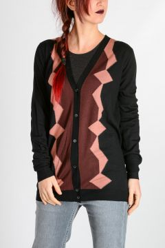 Intarsia Virgin Wool Cardigan